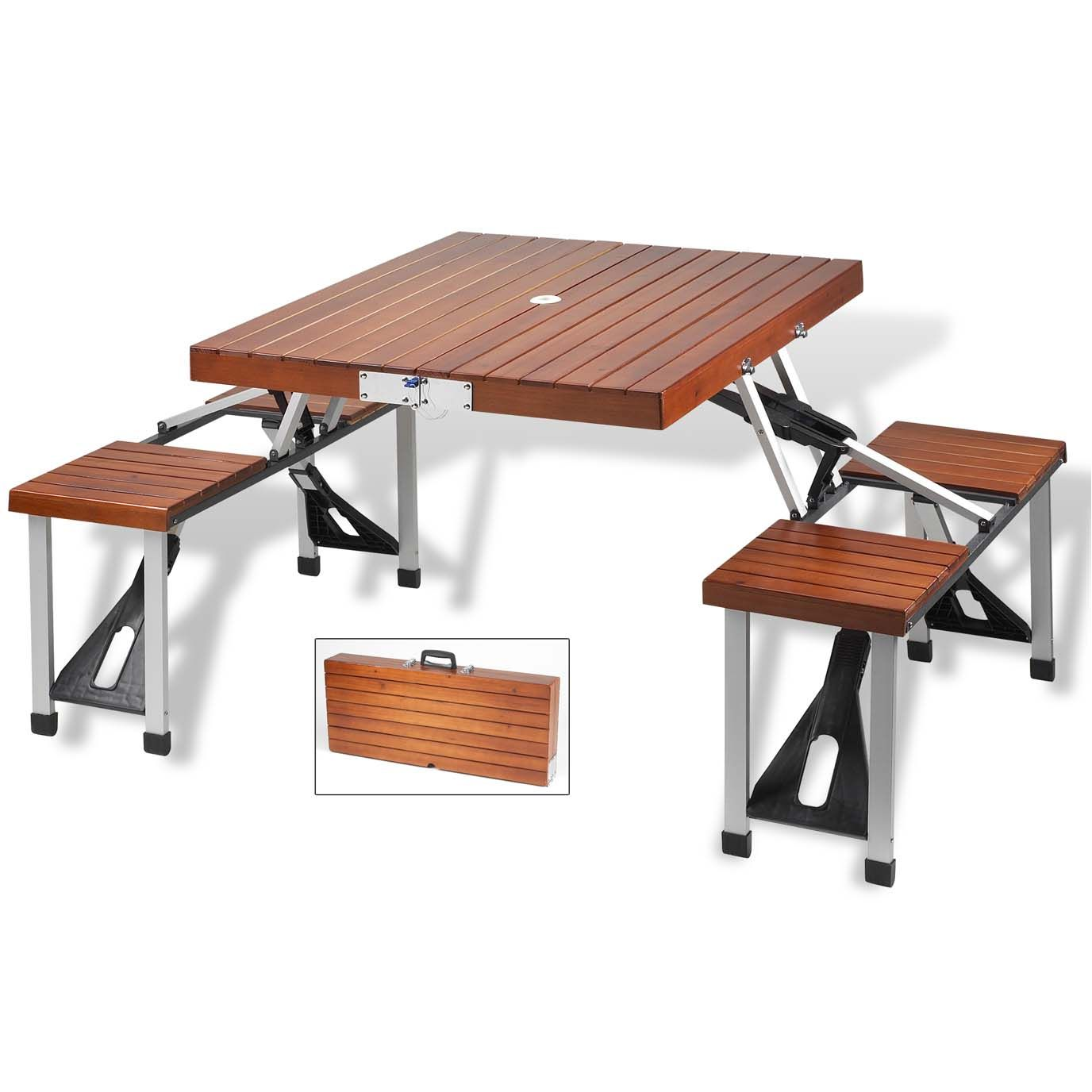 Wooden Picnic Table with Seats