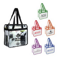 Zippered PVC Transparent Clear Vinyl Tote Event Shopping Travel Bag With Zi