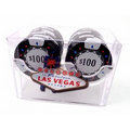 Las Vegas Casino Style 2 Roll Rack of 18 $100 Casino Chips