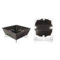 Portable Folding Steel Barbecue Grill with Removable Legs.