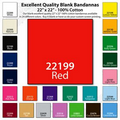 "22""x22"" Blank Solid Red Imported 100% Cotton Bandanna"