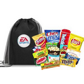Black Cinch Bag Filled With Snacks