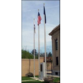 60' Commercial Series Outdoor External Halyard Flagpoles - Clear