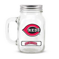 CINCINNATI REDS GLASS MASON JAR w/chocolate baseballs