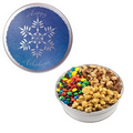 The Royal Tin w/ M & M' s  , Mixed Nuts, & Caramel Popcorn - Snowflake