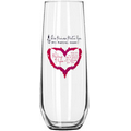 8.5 Oz. Stemless Wine or Champagne Flute Glass (Screen Printed)