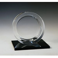Circle Optical Crystal Award w/ Black Base