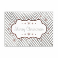 Christmas Stripes Greeting Card - Silver Lined White Envelope