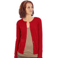 Ladies Cotton Button Front Crew Neck Cardigan - RED